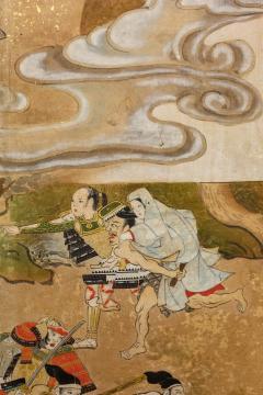 Japanese Six Panel Screen Tosa School Painting of the Battle of Ichinotani - 1964285