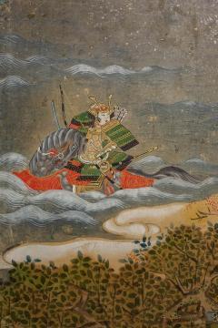 Japanese Six Panel Screen Tosa School Painting of the Battle of Ichinotani - 1964291