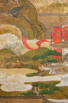 Japanese Six Panel Screen Tosa School Painting of the Battle of Ichinotani - 1964304