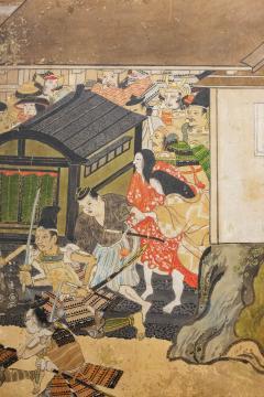 Japanese Six Panel Screen Tosa School Painting of the Battle of Ichinotani - 1964305