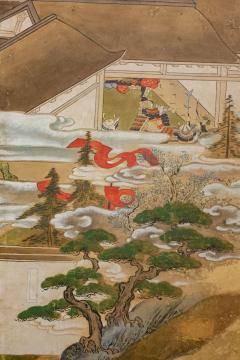 Japanese Six Panel Screen Tosa School Painting of the Battle of Ichinotani - 1964312