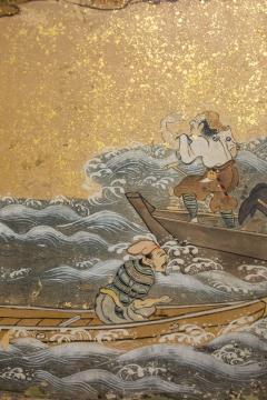 Japanese Six Panel Screen Tosa School Painting of the Battle of Ichinotani - 1964320
