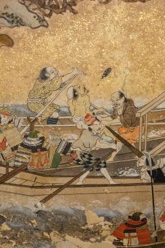Japanese Six Panel Screen Tosa School Painting of the Battle of Ichinotani - 1964321