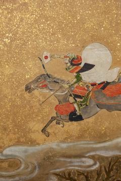 Japanese Six Panel Screen Tosa School Painting of the Battle of Ichinotani - 1964324