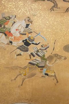 Japanese Six Panel Screen Tosa School Painting of the Battle of Yashima - 1964274