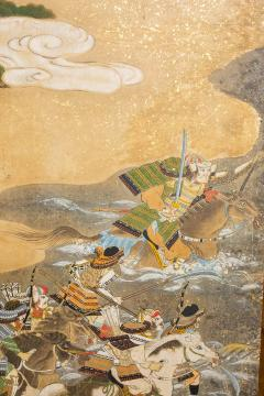 Japanese Six Panel Screen Tosa School Painting of the Battle of Yashima - 1964276