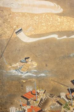 Japanese Six Panel Screen Tosa School Painting of the Battle of Yashima - 1964281