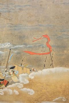 Japanese Six Panel Screen Tosa School Painting of the Battle of Yashima - 1964287