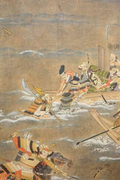 Japanese Six Panel Screen Tosa School Painting of the Battle of Yashima - 1964289