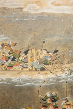 Japanese Six Panel Screen Tosa School Painting of the Battle of Yashima - 1964290