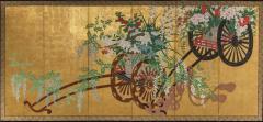 Japanese Six Panel Screens Pair of Festival Carts - 1368616
