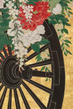 Japanese Six Panel Screens Pair of Festival Carts - 1368657