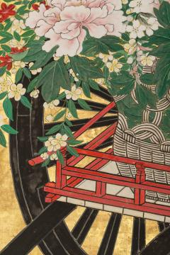 Japanese Six Panel Screens Pair of Festival Carts - 1368659