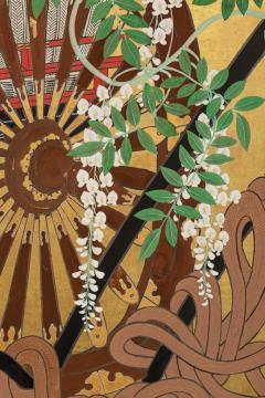Japanese Six Panel Screens Pair of Festival Carts - 1368660