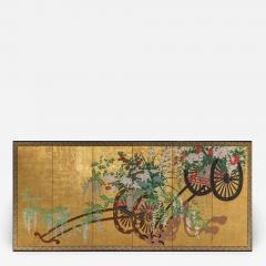 Japanese Six Panel Screens Pair of Festival Carts - 1368774