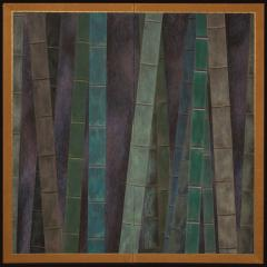 Japanese Two Panel Screen Abstract Bamboo Forest at Night - 404989