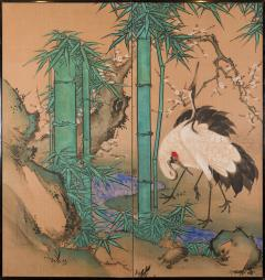 Japanese Two Panel Screen Amorous Cranes and Turtles - 1981335
