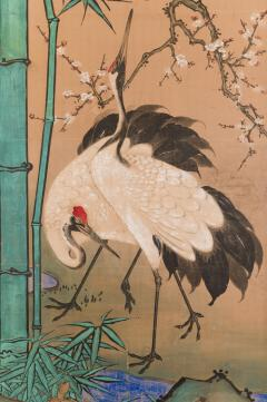Japanese Two Panel Screen Amorous Cranes and Turtles - 1981541