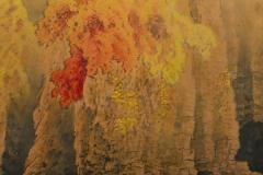 Japanese Two Panel Screen Autumn Colored Canyon in the Mist - 1511603