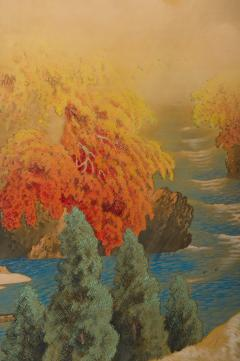 Japanese Two Panel Screen Autumn Colored Canyon in the Mist - 1511605