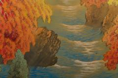 Japanese Two Panel Screen Autumn Colored Canyon in the Mist - 1511618