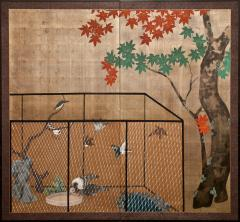 Japanese Two Panel Screen Aviary Shaded By A Maple Tree - 1511594