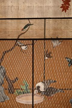 Japanese Two Panel Screen Aviary Shaded By A Maple Tree - 1511638