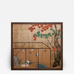 Japanese Two Panel Screen Aviary Shaded By A Maple Tree - 1512238