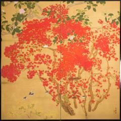 Japanese Two Panel Screen Azalea Tree With Birds - 1631384