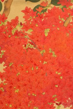 Japanese Two Panel Screen Azalea Tree With Birds - 1631405