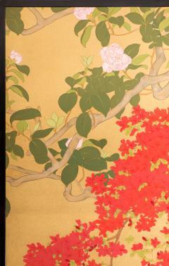 Japanese Two Panel Screen Azalea Tree With Birds - 1631406