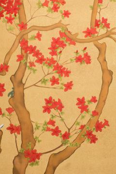 Japanese Two Panel Screen Azalea Tree With Birds - 1631407