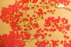 Japanese Two Panel Screen Azalea Tree With Birds - 1631408