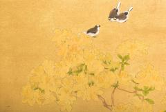 Japanese Two Panel Screen Azalea Tree With Birds - 1631409