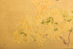 Japanese Two Panel Screen Azalea Tree With Birds - 1631425