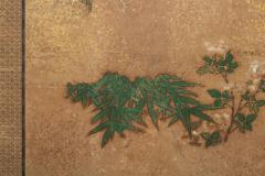 Japanese Two Panel Screen Bamboo Grove on Mulberry Paper with Gold Dust - 1771273