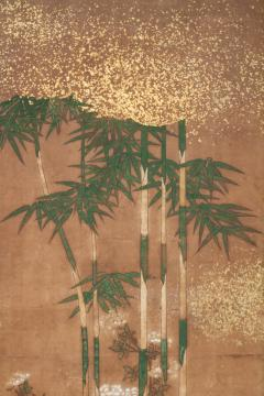 Japanese Two Panel Screen Bamboo Grove on Mulberry Paper with Gold Dust - 1771278