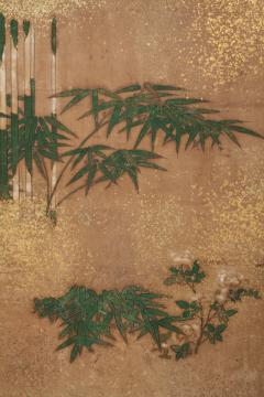Japanese Two Panel Screen Bamboo Grove on Mulberry Paper with Gold Dust - 1771280