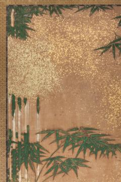 Japanese Two Panel Screen Bamboo Grove on Mulberry Paper with Gold Dust - 1771284