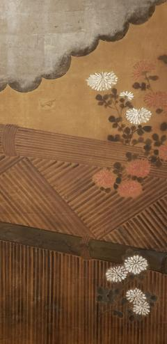 Japanese Two Panel Screen Chrysanthemums Over a Woven Reed Fence - 1650108