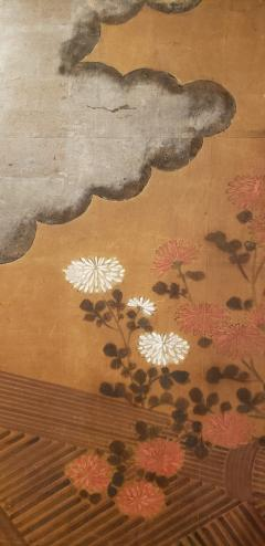 Japanese Two Panel Screen Chrysanthemums Over a Woven Reed Fence - 1650109
