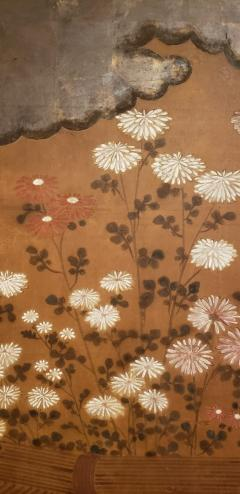 Japanese Two Panel Screen Chrysanthemums Over a Woven Reed Fence - 1650110