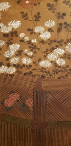 Japanese Two Panel Screen Chrysanthemums Over a Woven Reed Fence - 1650111