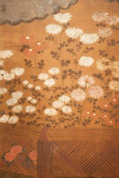 Japanese Two Panel Screen Chrysanthemums Over a Woven Reed Fence - 1650133
