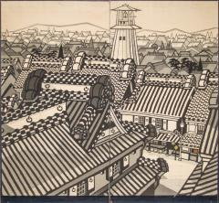 Japanese Two Panel Screen City View of Kyoto - 414733