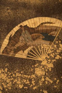 Japanese Two Panel Screen Collection of Fans on Gold - 383830
