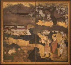 Japanese Two Panel Screen Court Figures in a Garden with Flowering Cherry - 1269114
