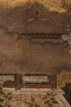 Japanese Two Panel Screen Court Figures in a Garden with Flowering Cherry - 1269177