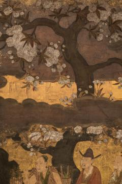 Japanese Two Panel Screen Court Figures in a Garden with Flowering Cherry - 1269181