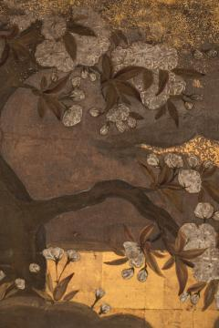 Japanese Two Panel Screen Court Figures in a Garden with Flowering Cherry - 1269185